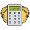 accounting, calculating, calculation, calculator, coin, finance, money icon