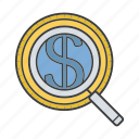 currency, dollar, loupe, magnifier, magnifying glass, money, search icon