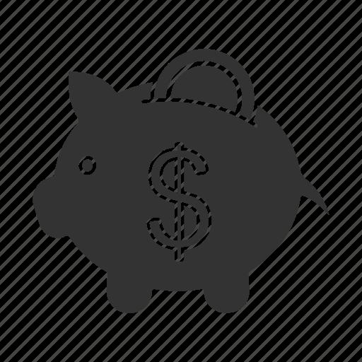 bank, coin, dollar sign, money, money box, piggy, thrift-box icon