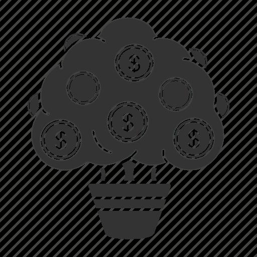coin, dollar, finance, money, money tree, plant, tree icon
