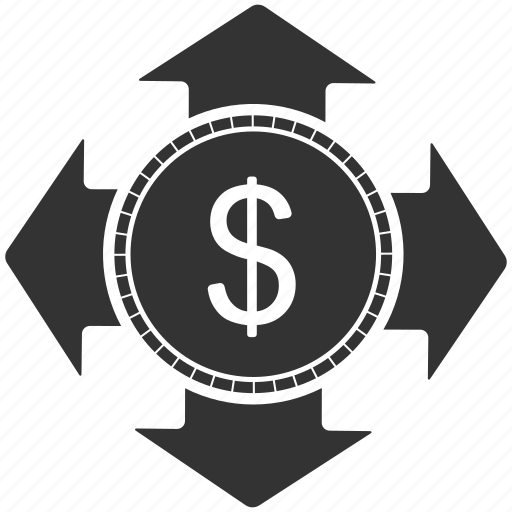 accounting, arrow, currency, dollar, finance, money, transaction icon