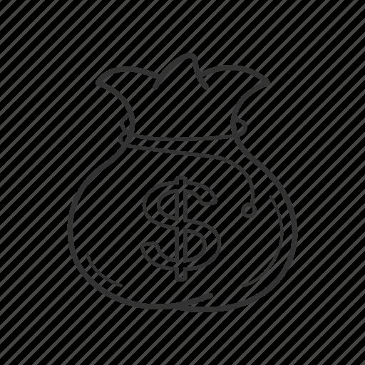 bag, cash, dollar, money, purse, rope, sack icon