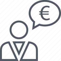 business, currency, euro, man, money, talking, thinking icon