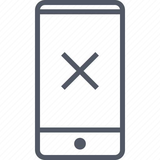 cell, close, denied, mobile, phone, stop, x icon