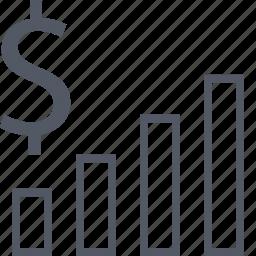 dollar, investement, money, return, sign, wealth icon
