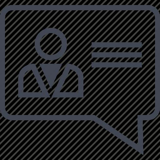 chat, conversation, message, profile, talk, user icon