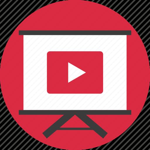 board, circle, learn, media, play, tube, youtube icon