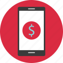 cell, circle, dollar, mobile, phone, sign icon