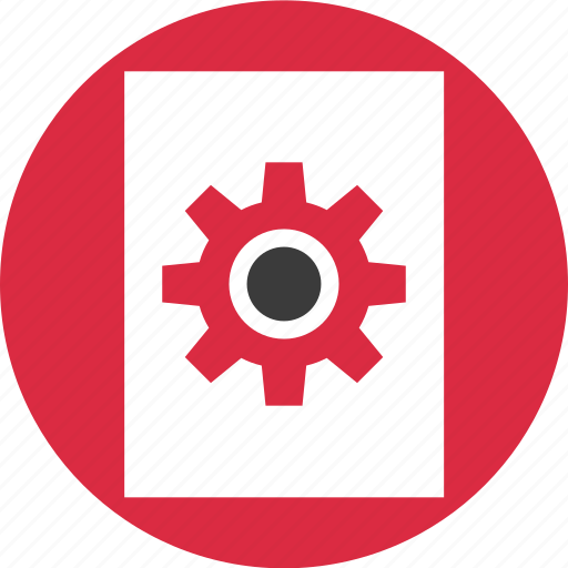 document, gear, options, paper, setup, work, working icon
