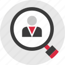 boss, find, look, profile, searh, staff, user icon