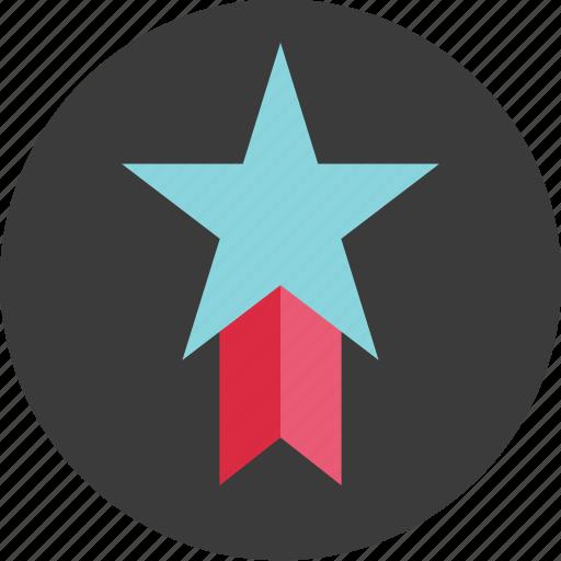 circle, favorite, honor, reward, ribbon, special, star icon