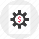 business, dollar, gear, work icon