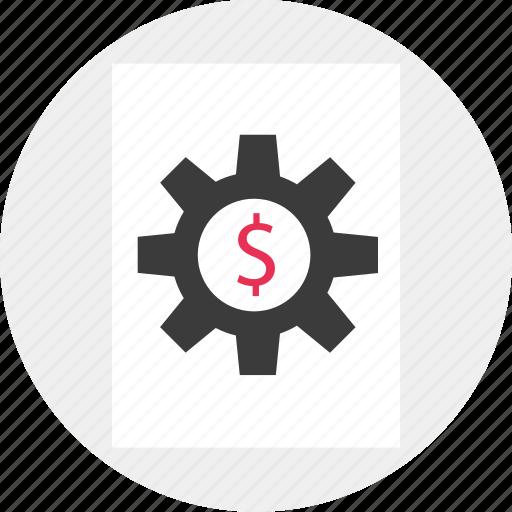 business, dollar, gear, work icon