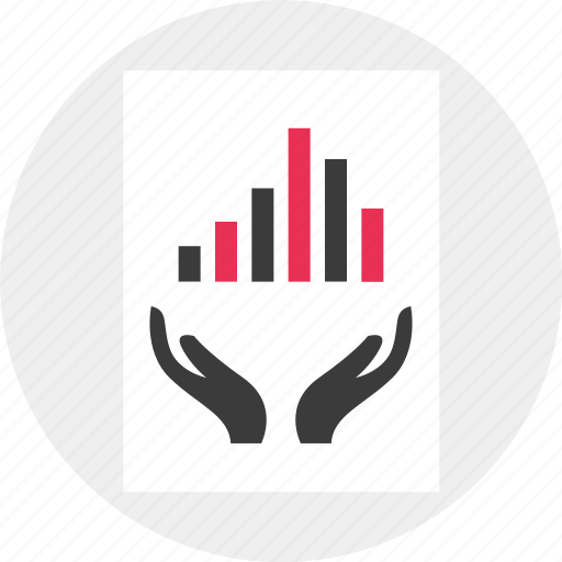 business, data, hands, results icon