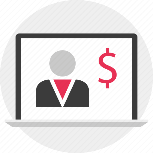 analyze, dollar, laptop, money icon