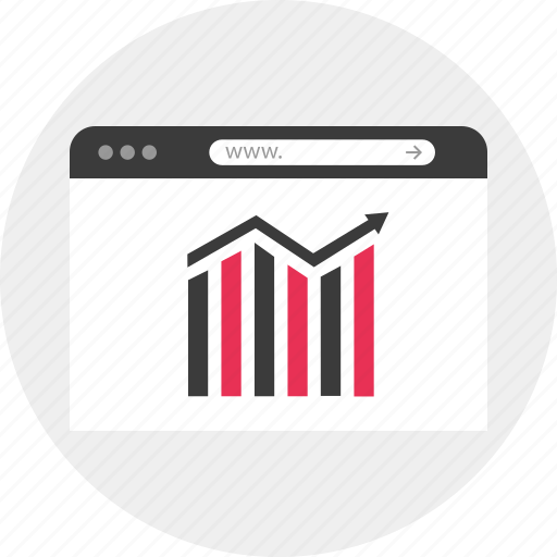 analytics, arrow, browser, data, online, results, web icon
