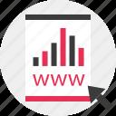 arrow, data, results, web icon