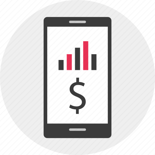 dollar, mobile, results, sign icon