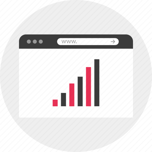 Bars, business, graph, www, online, data, browser icon