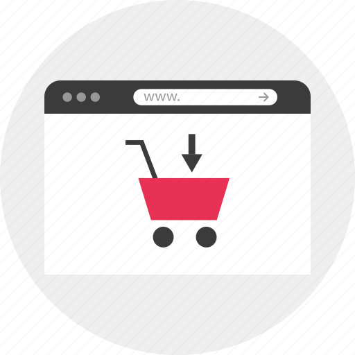add, browser, cart, down, online, shopping icon