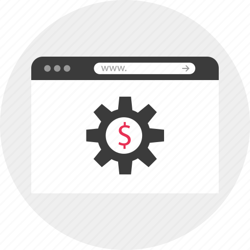 browser, dollar, gear, online, work, working, www icon