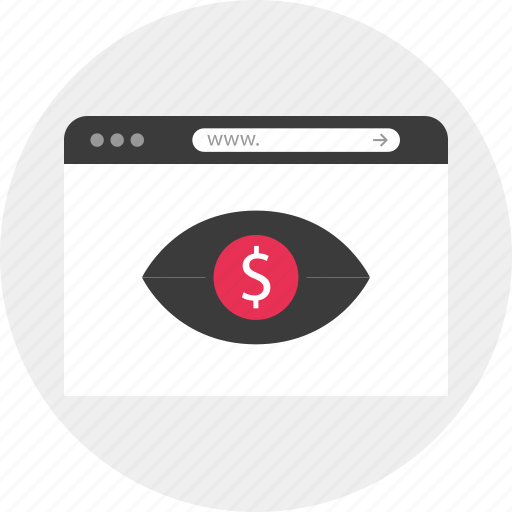 browser, dollar, online, search, sign, watch icon