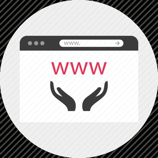 browser, hand, hands, online, website, www icon