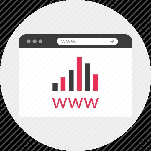 analytics, browser, graphs, online, site, www icon