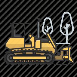 bulldozer, dozer, earth mover, tractor icon