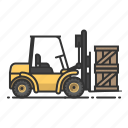 wharehouse, forklift, shipping, tractor icon