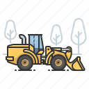 bulldozer, earth mover, front loader, tractor icon