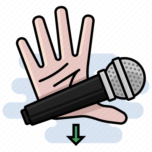 drop, hand, mic, mic drop, microphone icon