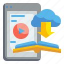 cloud, education, learing, online, storage, tablet, video icon