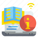 book, content, course, information, laptop, online, subject icon