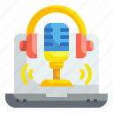 communications, conversation, laptop, microphone, podcast, record, voice icon