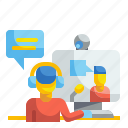 call, communications, conference, course, miscellaneous, online, video icon