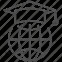 cap, education, global, graduation icon