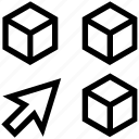 arrow, block, boxes, education, package, products