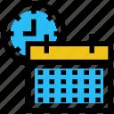 calendar, calendar clock, clock, education, schedule, school time icon