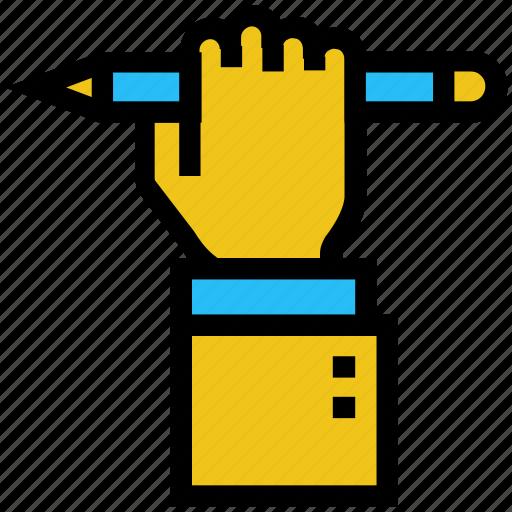 education, hand, learning, pencil, raise hand, school icon