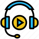 earphone, education, headphone, learning, online education, study, video play icon