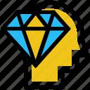 ability, capability, diamond, education, head, skills
