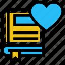 book, education, favorite book, heart, like, ribbon icon