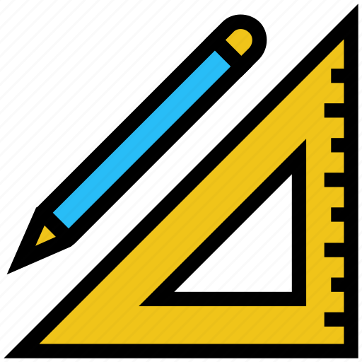 drawing, education, measuring, pencil, ruler, school icon