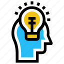 bulb, creative, education, head, idea, light, online education icon