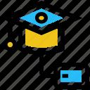 education, graduation, graduation cap, internet, mouse, online diploma icon