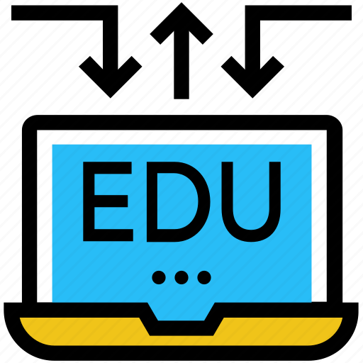 arrows, education, laptop, online education, study icon