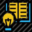 bulb, education, idea, light, online education, open book, reading