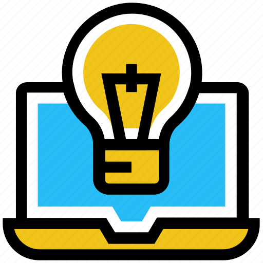bulb, creative, education, idea, laptop, light, online education icon