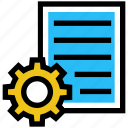 document, education, gear, page, paper, setup, sheet icon